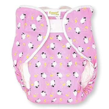 Medium//Large Pink - Sheep Omutsu Bulky Fitted Nighttime Cloth Diaper Rearz