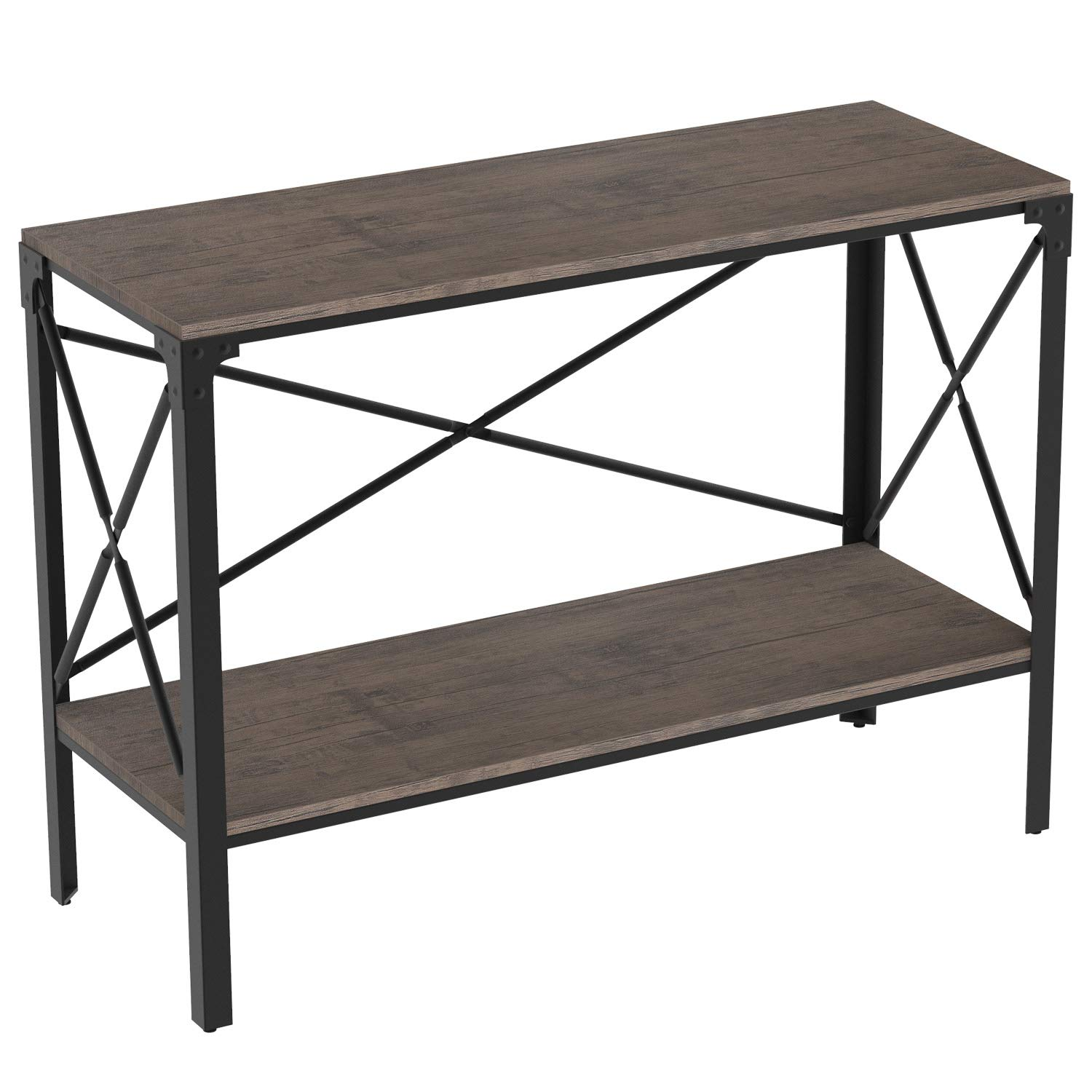 IRONCK Rustic Console Table 2 Tier, Entryway Table with Storage, Entry Table for Entryway Living Room, Easy Assembly, Industrial Style, Dark Brown by IRONCK