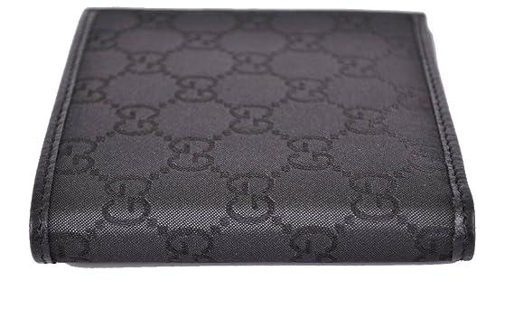 Gucci Hombre Gg Monogram - Cartera de lona y cuero Negro 143383: Amazon.es: Equipaje