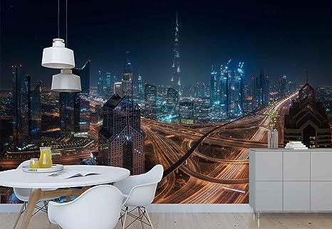 Dubai Ciudad autopistas Skyline iluminación Papel pintado ...