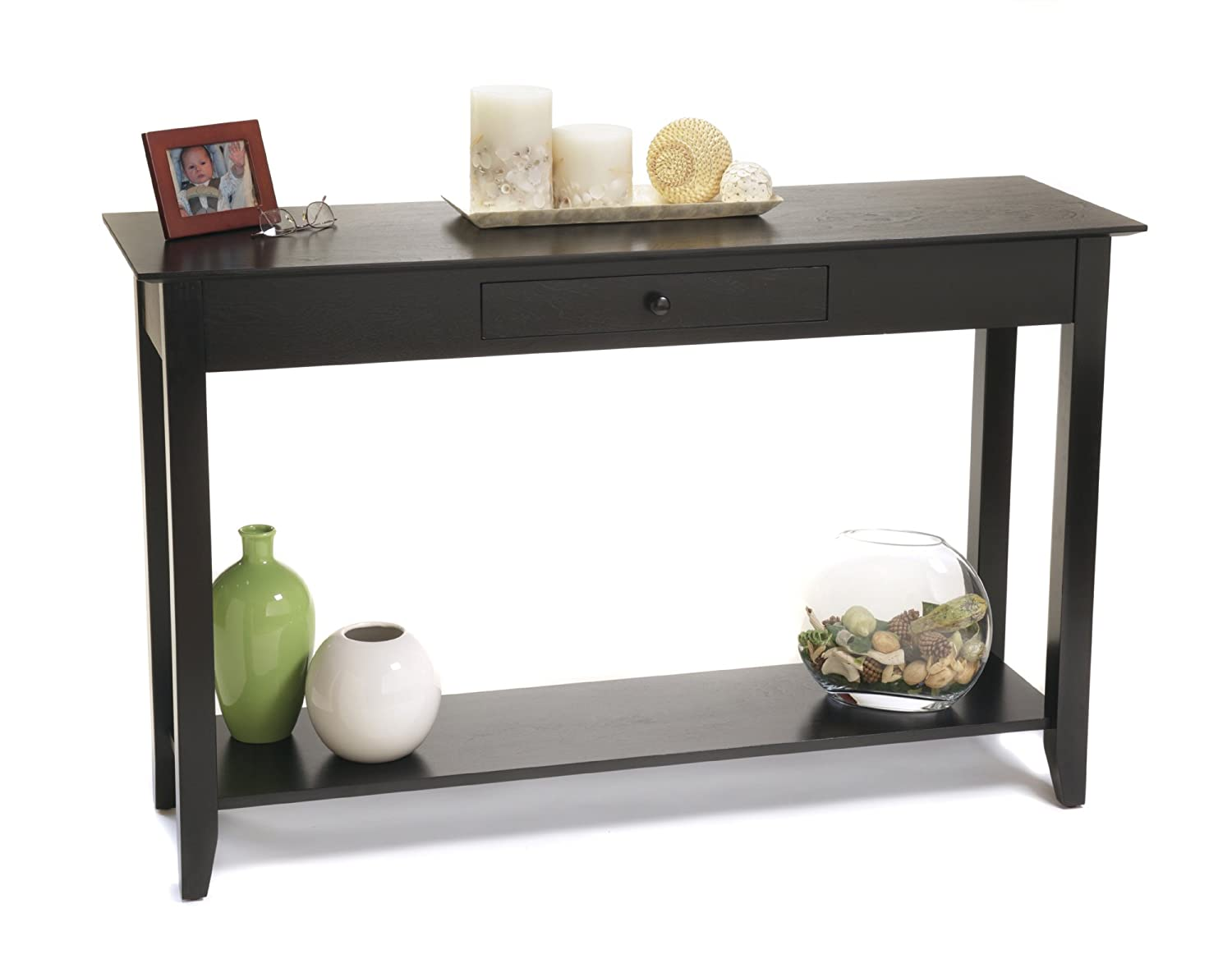 Black console table with storage - Convenience Concepts American Heritage Console Table With Drawer And Shelf Black