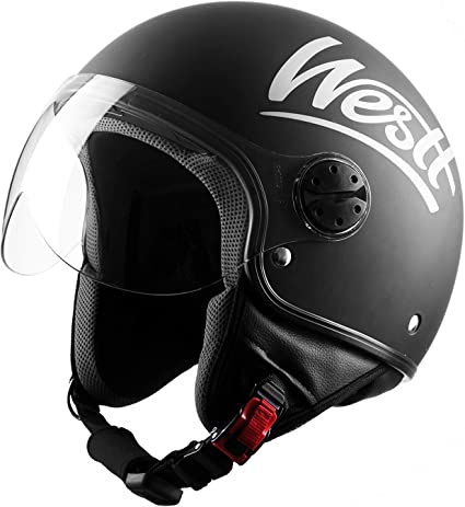 Amazon.es: Westt Classic Casco de Moto Jet Abierto - Ligero y Duradero - Negro Mate - Certificado ECE