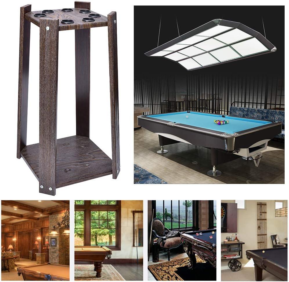 Pool Holds Sticks Wood Rack Holder Billiard Cue Racks,for Billiards Snooker Accessory,Black Wood Grain Finish,Cues Rack,Holds 8 Cues,Standing Cue Rack