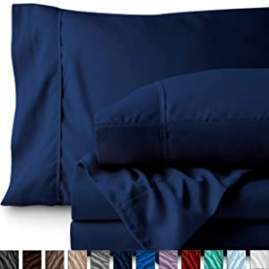 Bare Home Twin XL Sheet Set - College Dorm Size - Premium 1800 Ultra-Soft Microfiber Sheets Twin Extra Long - Double Brushed - Hypoallergenic - Wrinkle Resistant (Twin XL, Dark Blue)