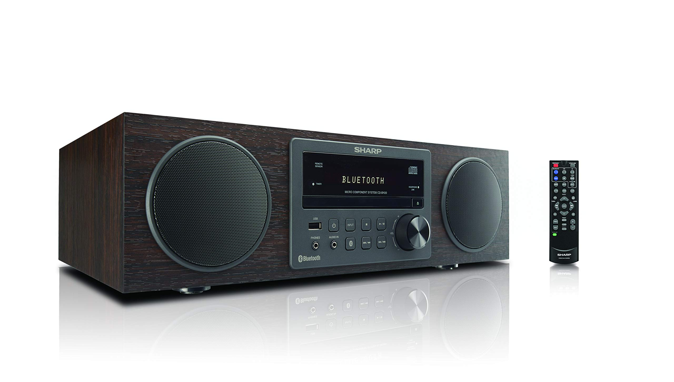 Sharp Vintage Style Modern Retro Look Micro Component Wireless Bluetooth Audio Streaming & Cd Player Wood Speaker System + Remote, USB Port for MP3 Playback, Am/FM Stereo Digital Tuner, Aux, Brown Oak by Sharp