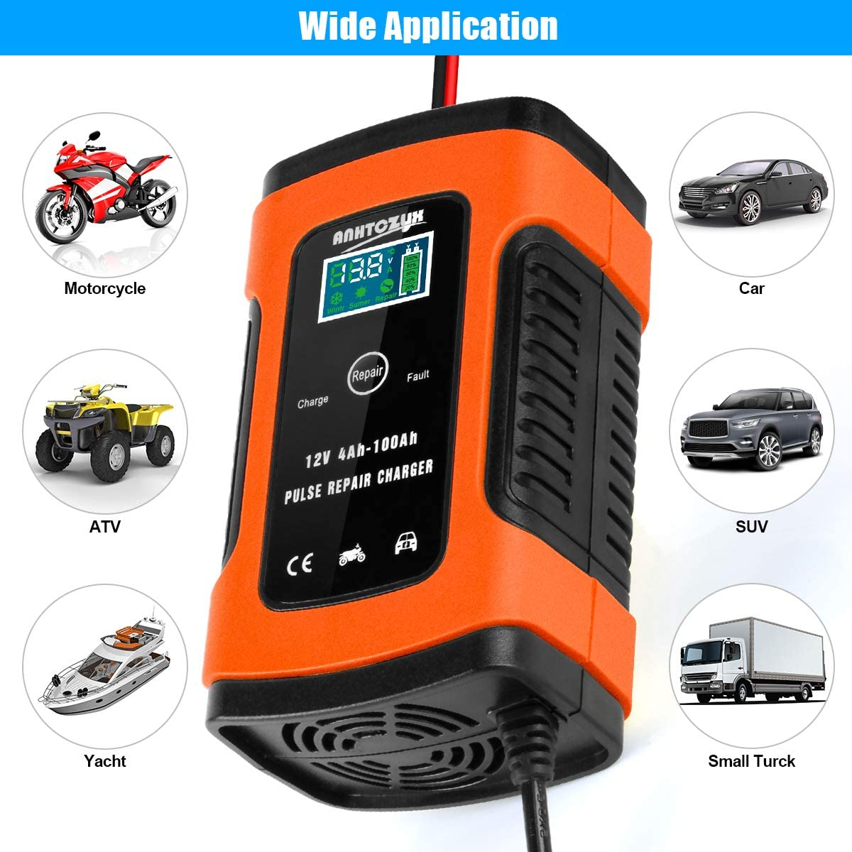 Orange Maintain and Repair Batteries for Cars Boat and More Hutigertech Car Battery Charger /& Maintainer 6A 12V Fully Automatic Battery Charger with LCD Screen Motorcycles Used to Charger