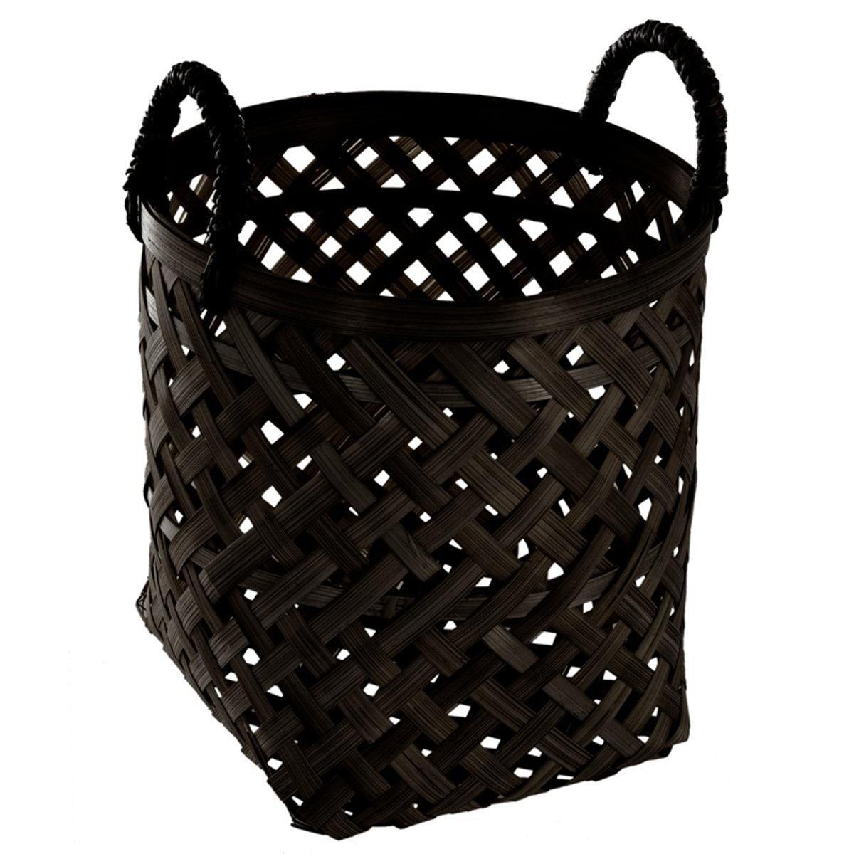 PEGANE Set de 3 Paniers Ronds en Bambou Coloris Noir