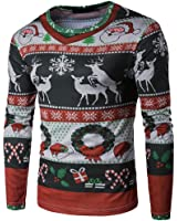 kaifongfu Men T-Shirt, Autumn Winter Xmas Christmas Printing Top Men's Long-Sleeved Blouse