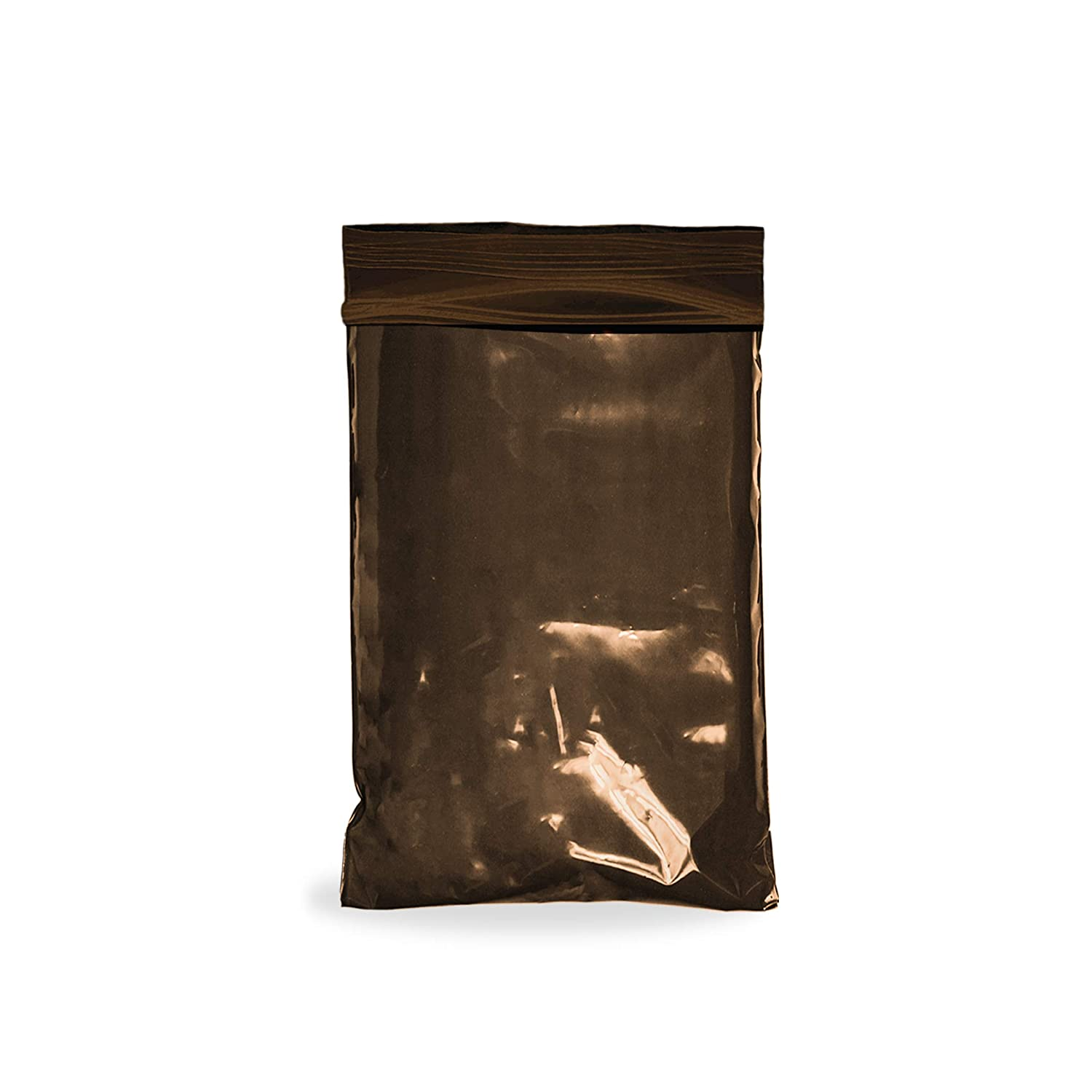 APQ Pack of 100 Polypropylene Zipper Locking Bags 6 x 8. Thickness 3 mil. Brown Seal Top Bags 6x8. High Clarity Food Storage Bags for Industrial, Food Service.