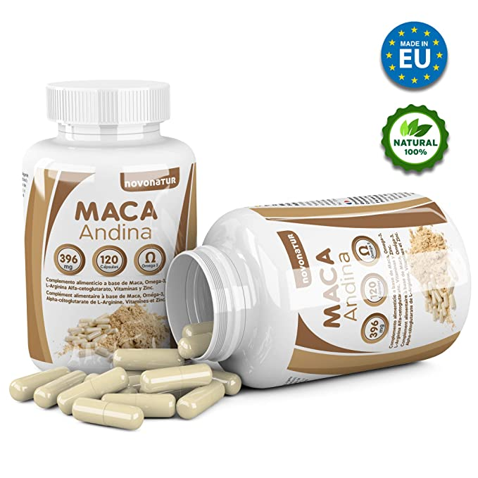 Maca andina negra con Omega 3, L-Arginina Alfa-cetoglutarato, Vitaminas y Zinc. Única Maca con Omega 3 del mercado. NOVONATUR. (120): Amazon.es: Salud y ...