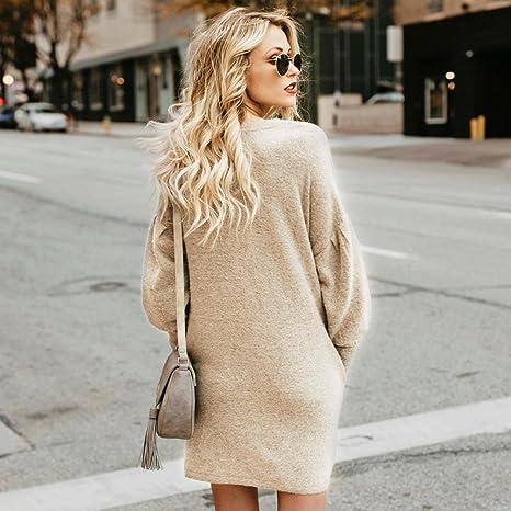 Suéter mujer, ❤️Xinan Blusa de mujer de moda Suéter largo con bolsillo o cuello sólido Sudadera suelta casual de manga larga: Amazon.es: Ropa y accesorios