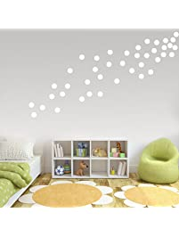 White Wall Decals Polka Dots Vinyl Wall Stickers Round Circle Art Stickers  Removable Metallic Hanging Decor