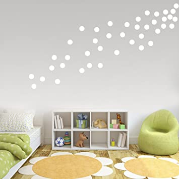 White wall decals polka dots vinyl stickers safe on painted walls round art removable hanging decor