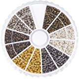 Pandahall 1 Box 6 Colors 2mm Round Brass Tube Crimp Beads, Hole: 1.2mm, About 3000pcs/box