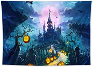 HVEST Halloween Tapestry Fairytale Dream Castle and Orange Pumpkin Black Bat Withered Tree Cemetery Theme Tapestry Wall Hanging for Bedroom Living Room Dorm Party Wall Art Decor,60Wx40H inches