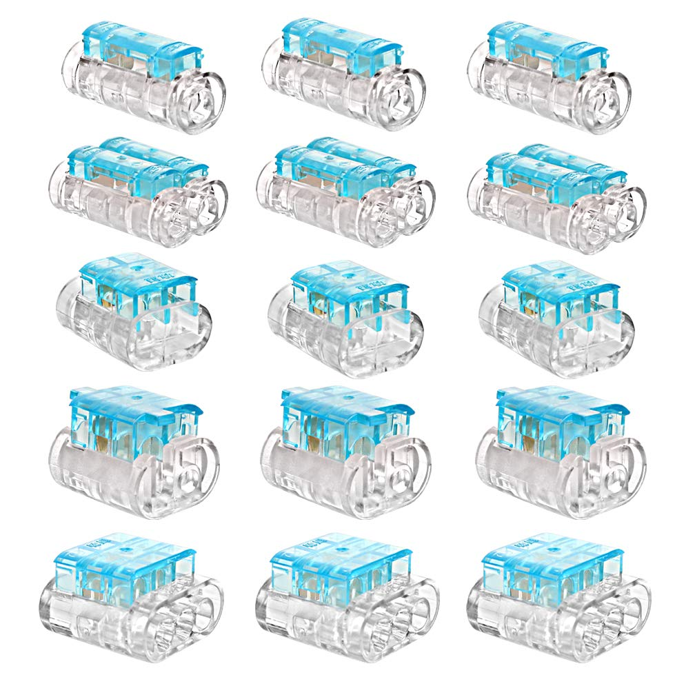 WATER'S GOOD Wire Connector Crimp Kit 2 Pin, 3 Pin, Staight Joint, 2 Way Staight Joint, T Joint Wire Splice Terminals 16-14AWG 15 Pcs Blue