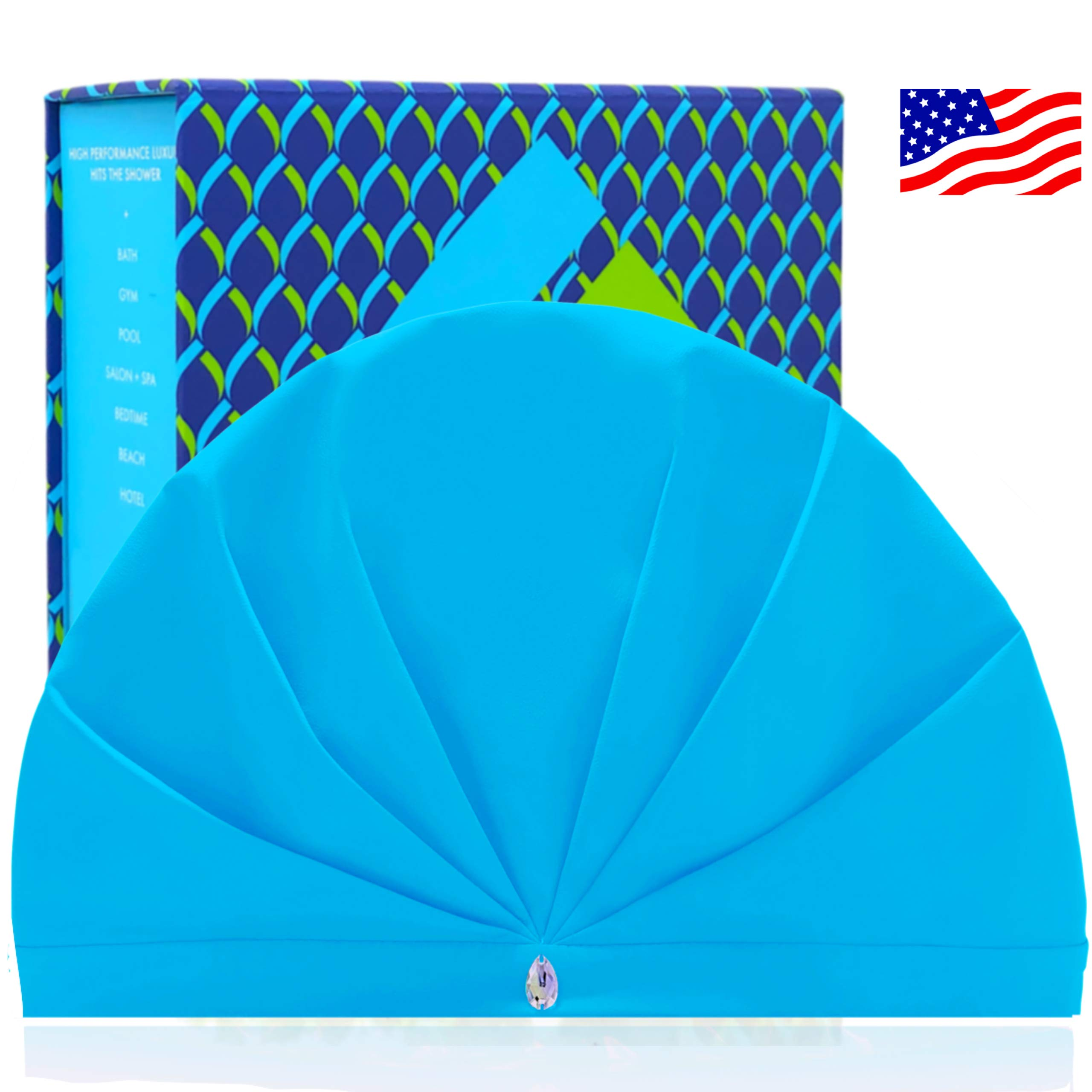 SUPERPOWER TURBAN The Only Professional Waterproof Breathable Shower Cap For Women   Adjustable No Slip Band   Fabric Wicks Humidity To Keep Hair Dry + Stop Frizz   Made in USA   Swarovski   GIFT box