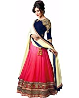 Purva Art Womens Royal Pink & Blue Embroidery Work Georgette Semi - Stitched Lehenga Choli (PA_Pink_0005_Wedding Wear Choli)