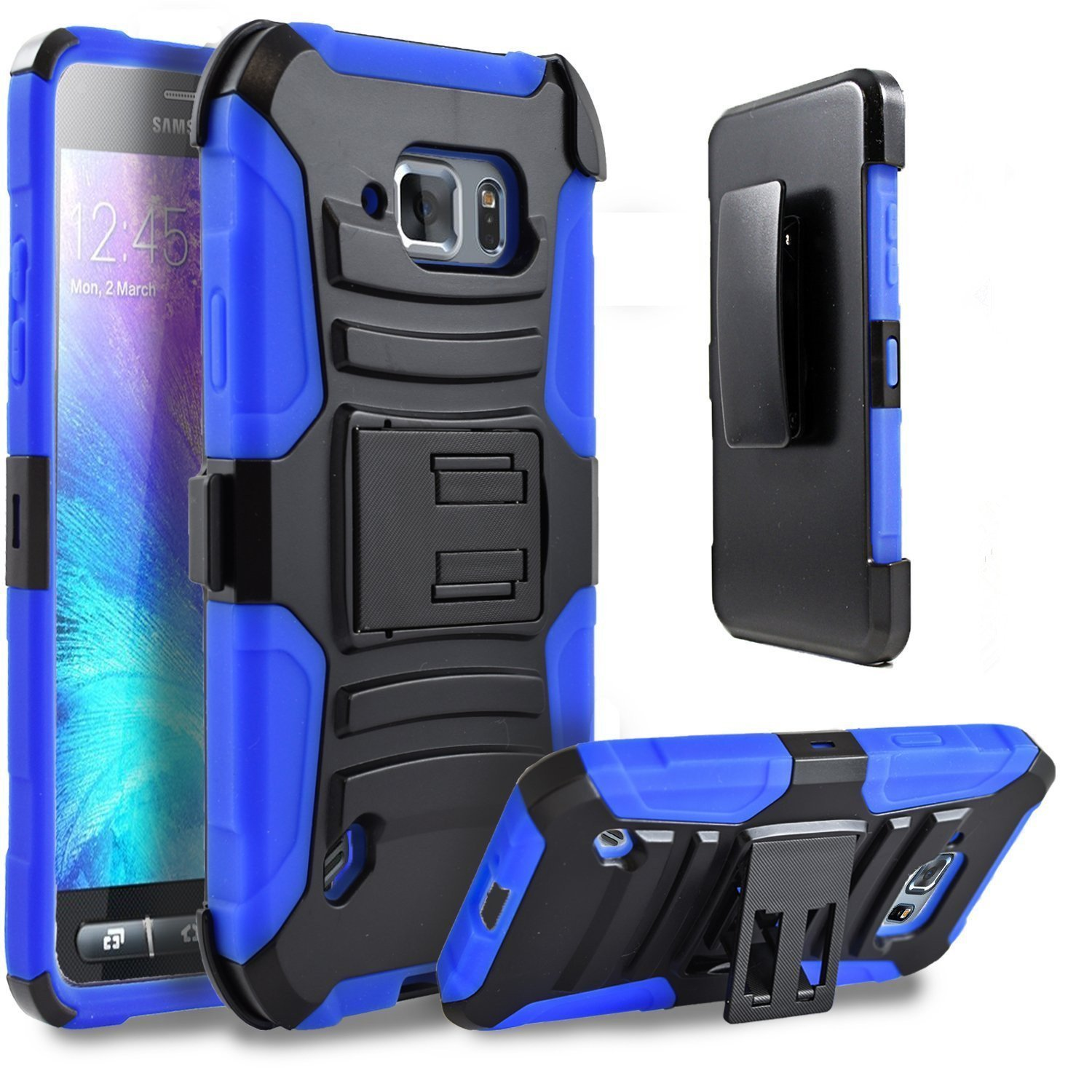 Premium Hard /& Soft Sturdy Durable Shockproof Rugged Shell Hybrid Protective Samsung Galaxy S7 Edge Phone Case, Storm Buy Holster Blue Anti Scratch Phone Case Cover with Built in Kickstand
