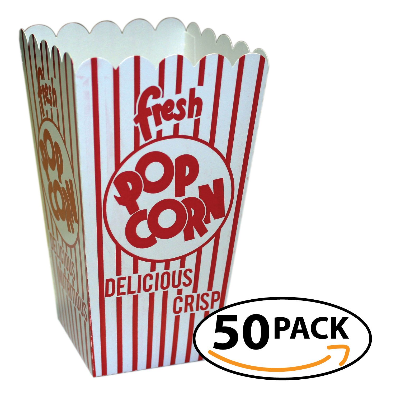 Popcorn Scoop Box Small Size (.79oz) Bag of 50 disposable treat boxes - by Carnival Canada Size 44E