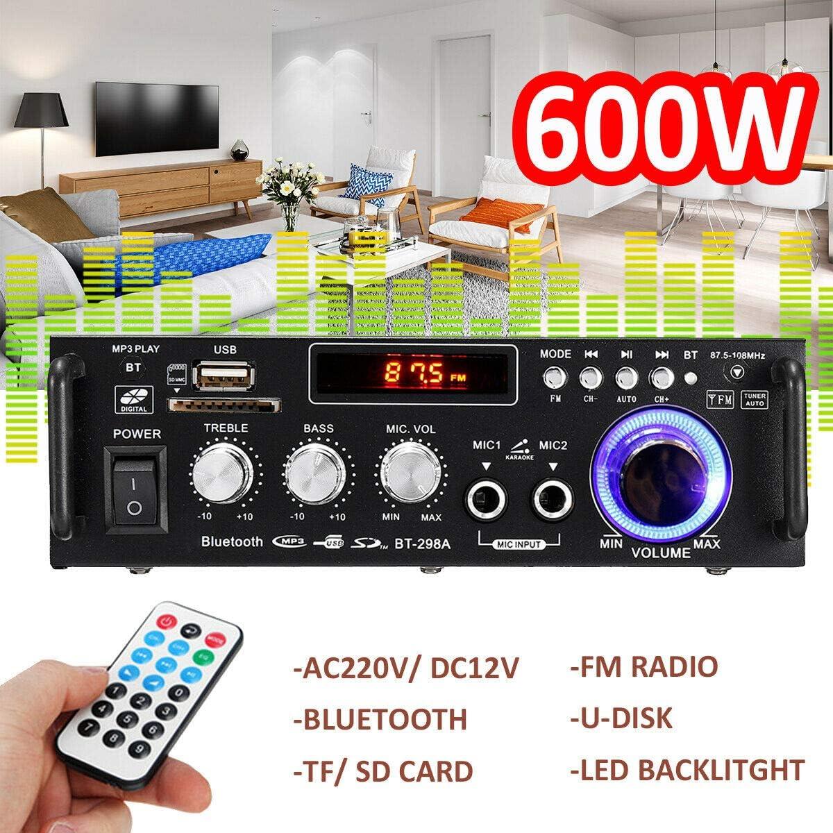 Black 600w Digital HIFI Wireless Stereo Audio Amplifier SD FM Mic Car Home Durable Small Mini Power Amplifier