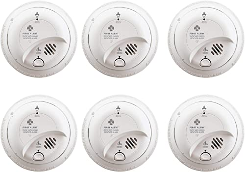 First Alert BRK SC9120B-6 Hardwired Smoke and Carbon Monoxide CO Detector with Battery Backup, 6-Pack