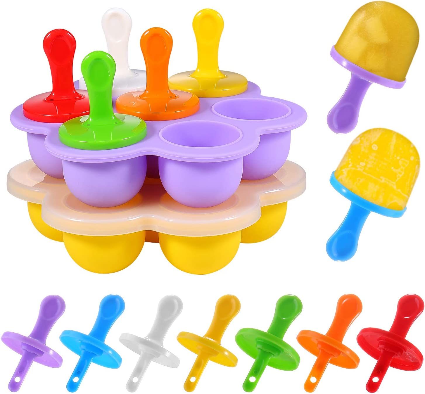 WARMWIND Silicone Pop Mold, Silicone Ice Popsicle, Non-Stick Ice Pop Make, Baby Food Storage, Food Grade Baby Food Freezer Trays, 14 PCS Plastic Sticks, Purple and Yellow(Set of 2)