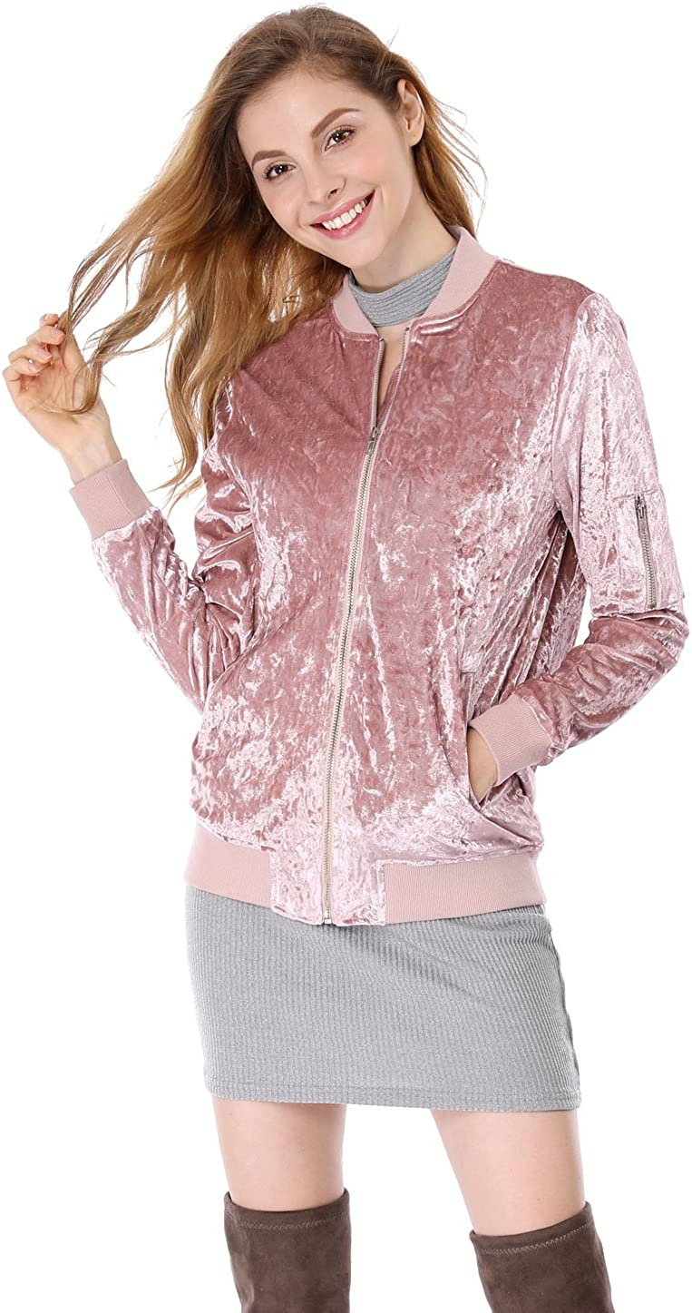 Allegra K Womens Stand Collar Long Sleeve Velvet Bomber Classic Jacket Pink M US 10