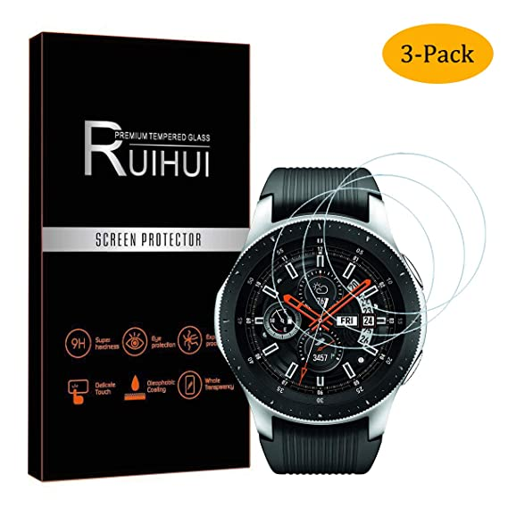 [3 Pack] Samsung Galaxy Watch 2018 Screen Protector(for 46 mm),RUIHUI 2.5D Arc Edges 9 Hardness HD Anti-Scratch Bubble-FreeTempered Glass for Galaxy ...