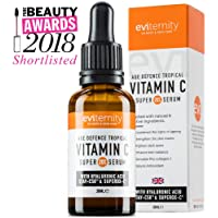 Vitamin C Serum 20% with Hyaluronic Acid - Powerful Anti Ageing & Anti Wrinkle Face Serum with Kakadu Plum, 11 Natural Extracts & 2 Premium Actives to Help Reduce Fine Lines & Wrinkles, Acne, Dark Spots & Dull Skin. Enhance Skin Glow With Superior Antioxidant Properties | Formulated by Skincare Professionals in the UK by Eviternity