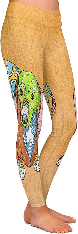 Dachshund Tan Athletic Yoga Leggings from DiaNoche Designs by Marley Ungaro