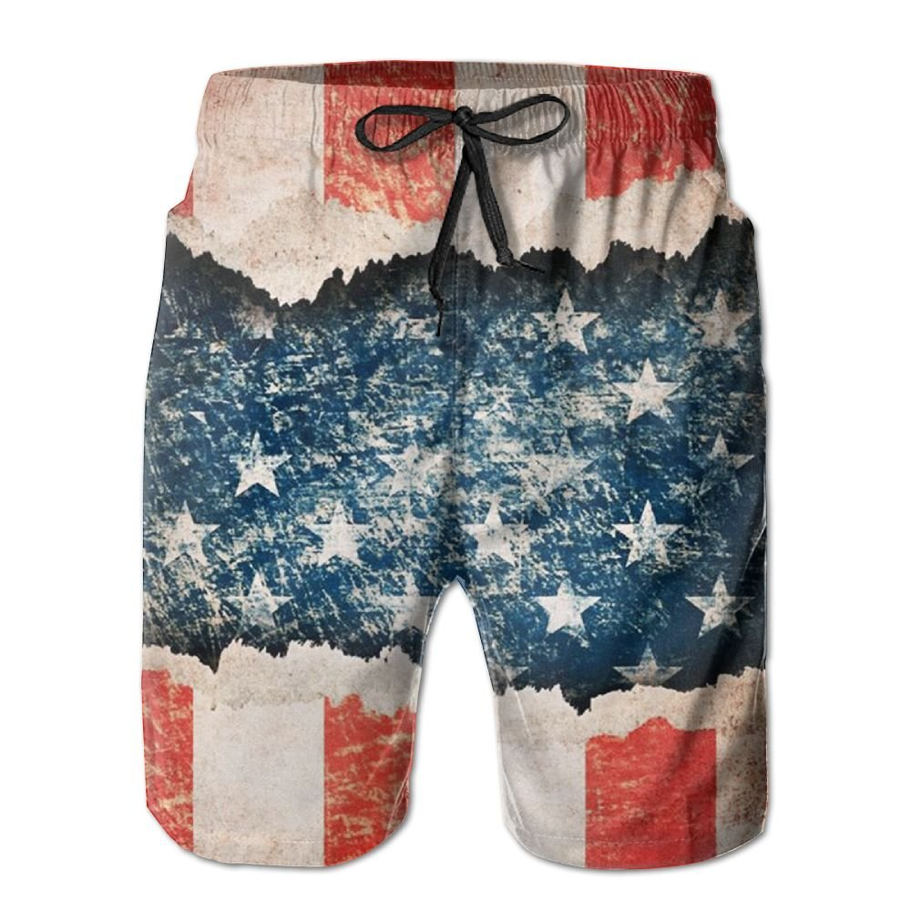 JDHFAF American Flag Mens Beach Board Shorts Quick Dry Summer Casual Swimming Soft Fabric with Pocket