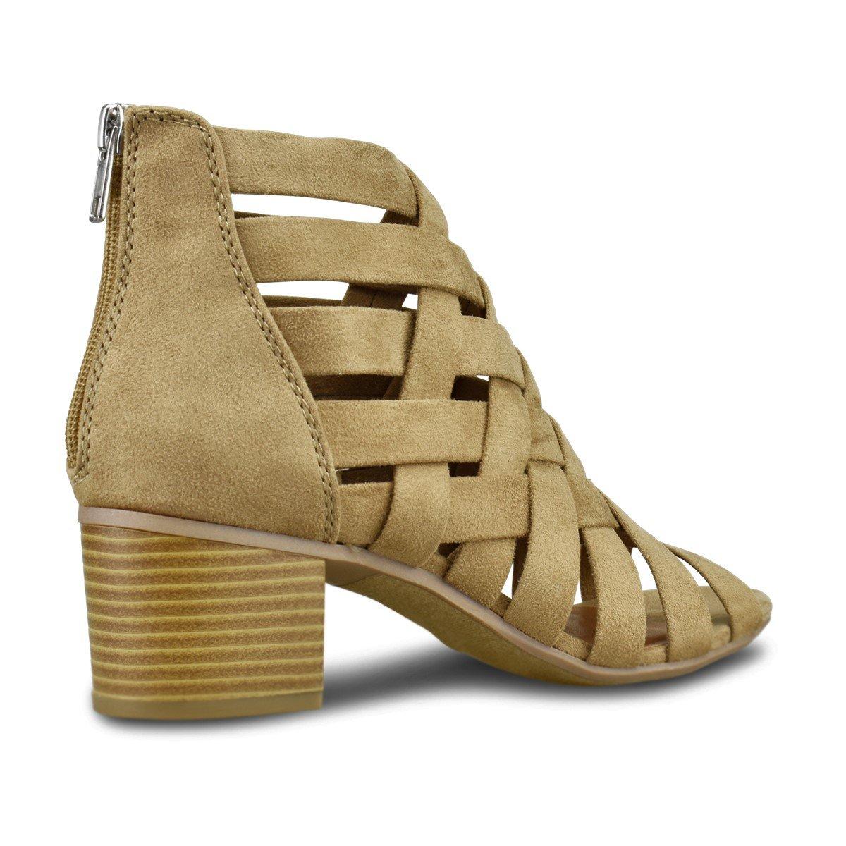 b4c6e677bee Premier Standard - Women's Peep Toe Bootie - Stacked Suede Mule Low Heel -  Open Toe Cutout Ankle Strap