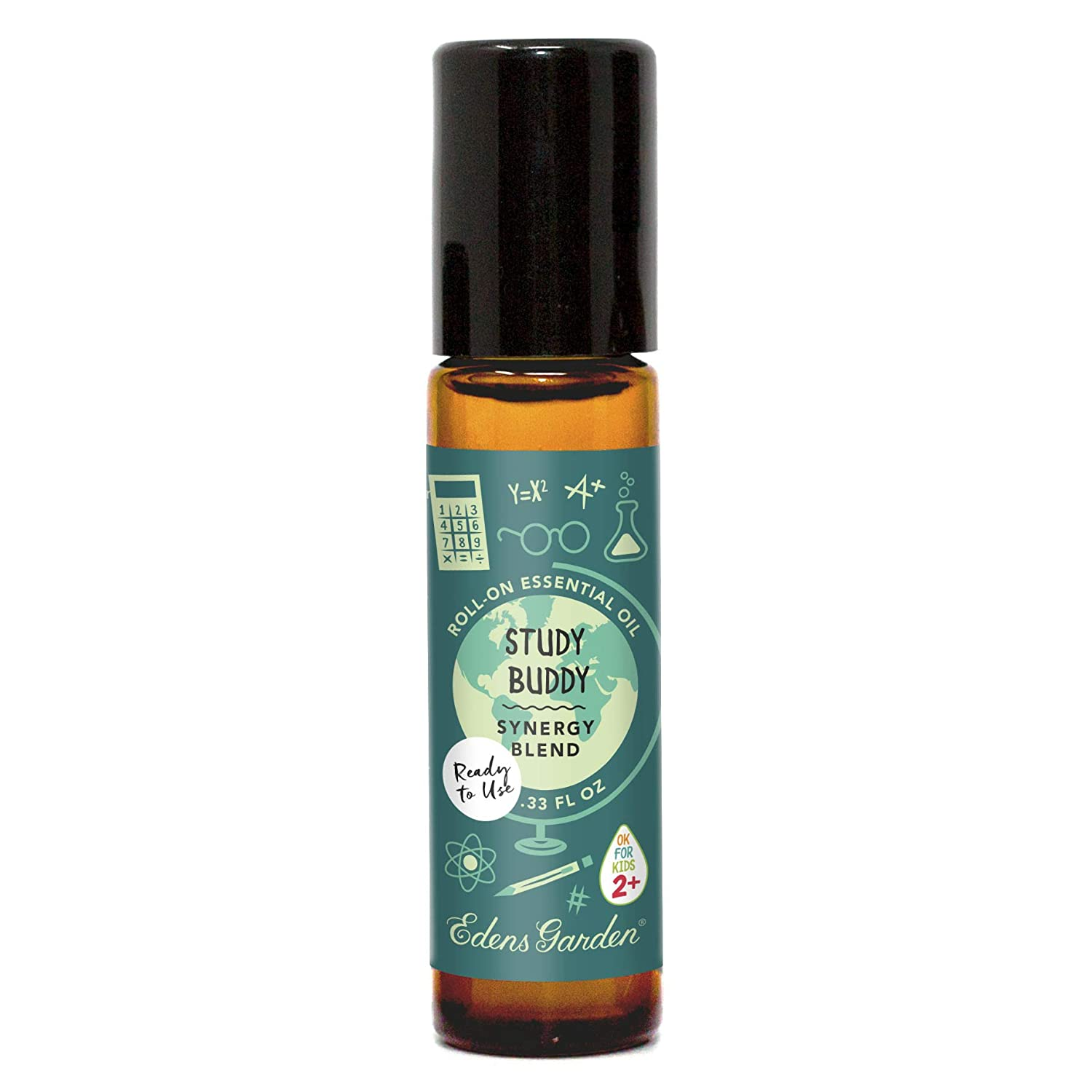 """Edens Garden Study Buddy""""OK For Kids"""" Essential Oil Synergy Blend, 100% Pure Therapeutic Grade (Child Safe 2+, Pre-Diluted & Ready To Use- Cold Flu & Energy), 10 ml Roll-On"""