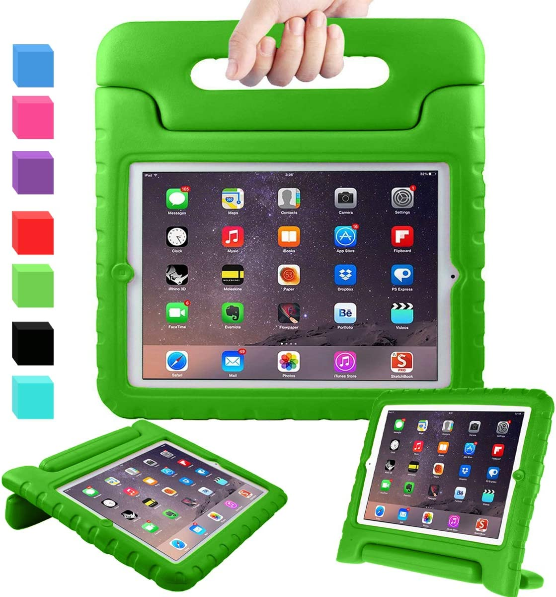 """AVAWO Kids Case for 9.7"""" iPad 2 3 4 (Old Model) - Light Weight Shock Proof Convertible Handle Stand Kids Friendly for iPad 2, iPad 3rd Generation, iPad 4th Generation Tablet - Green"""