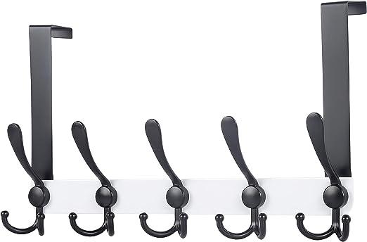 Over Door Coat Rack with 5 Tri Hooks Black Hat Rack for Coat Hat Clothes Towel Dseap Over The Door Hook Hanger