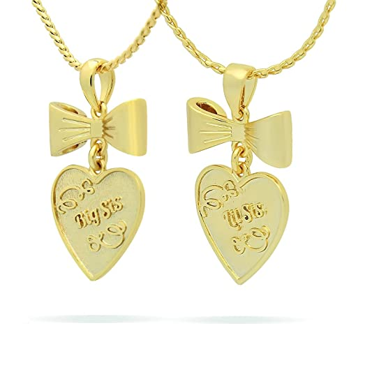Amazon sisters pendants set of 2pc 18k plated gold bow sisters pendants set of 2pc 18k plated gold bow necklaces sisters heart necklaces set gift aloadofball Choice Image