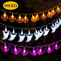 Gigalumi Halloween Decoration Lights with,Set of 3 Battery Operated Fairy Lights 12ft Pumpkin Bat Ghost String Lights 30 LED Each