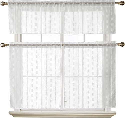 Deconovo-Rod Pocket Textured 3 Pieces Cafe Jacquard-Kitchen Sheer Tier Curtains and Valance Set for Windows, 59×18 29×36 Inch, Off White Stripe