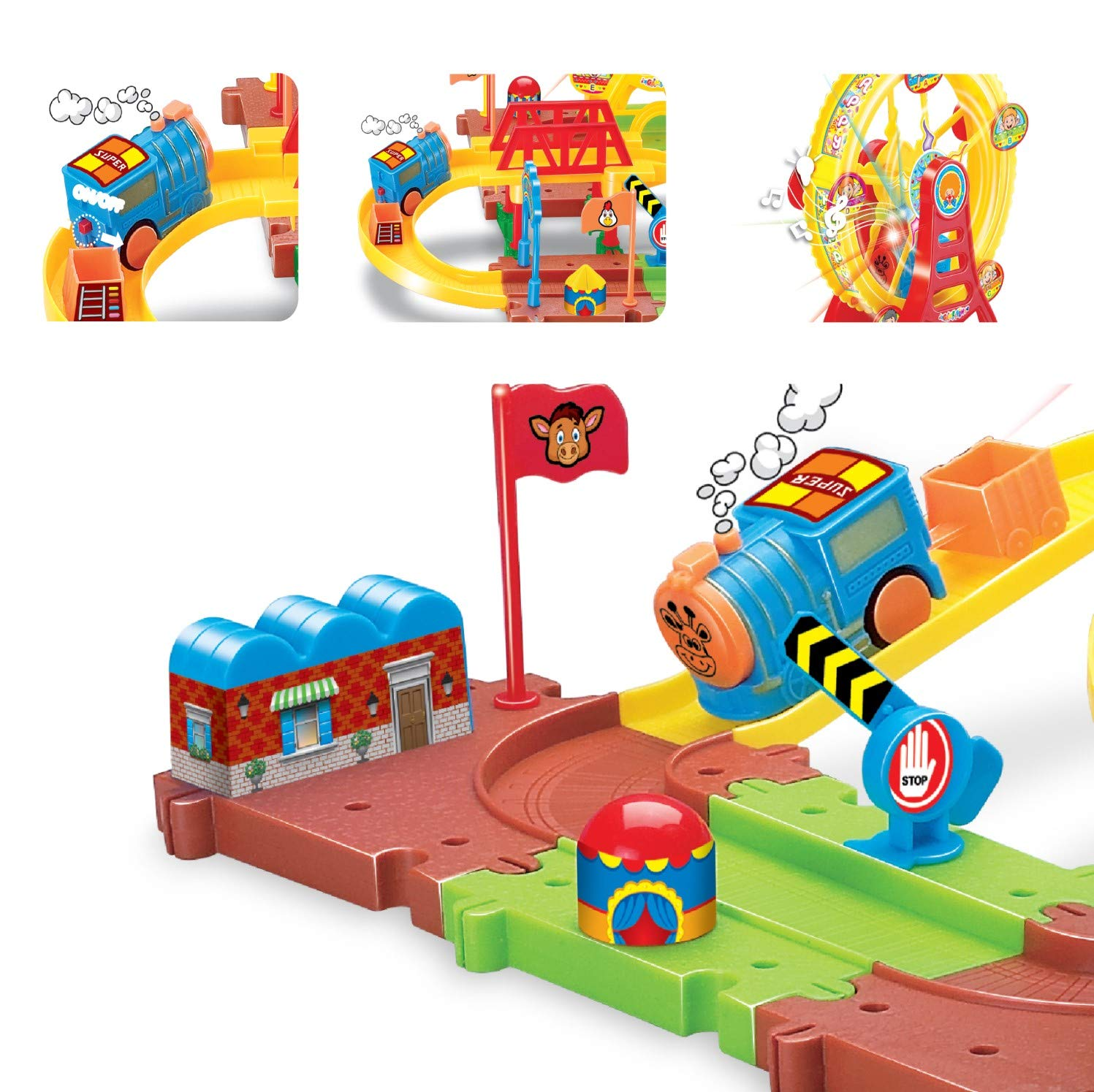 Kids Toys Railway Ferris Car Race Track Set Railway Ferris Wheel Train Battery Powered- 43pcs
