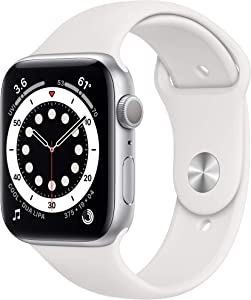 Apple Watch Series 6 (GPS, 44mm) - Silver Aluminum Case with White Sport Band (Renewed)