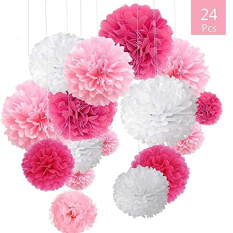 O Kinee 24er Rosa Deko Seidenpapier Pompons Für Hochzeit Taufe Mädchen Geburtstag Party Baby Shower Mädchen Weiß Rosa