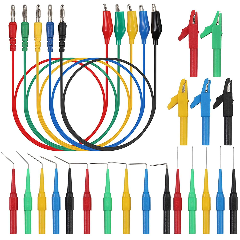 15pcs Back Probe Pins /& 5pcs Banana Plug to Alligator Clip Circuit Test Wires 20pcs Automotive Back Probe Lead Set