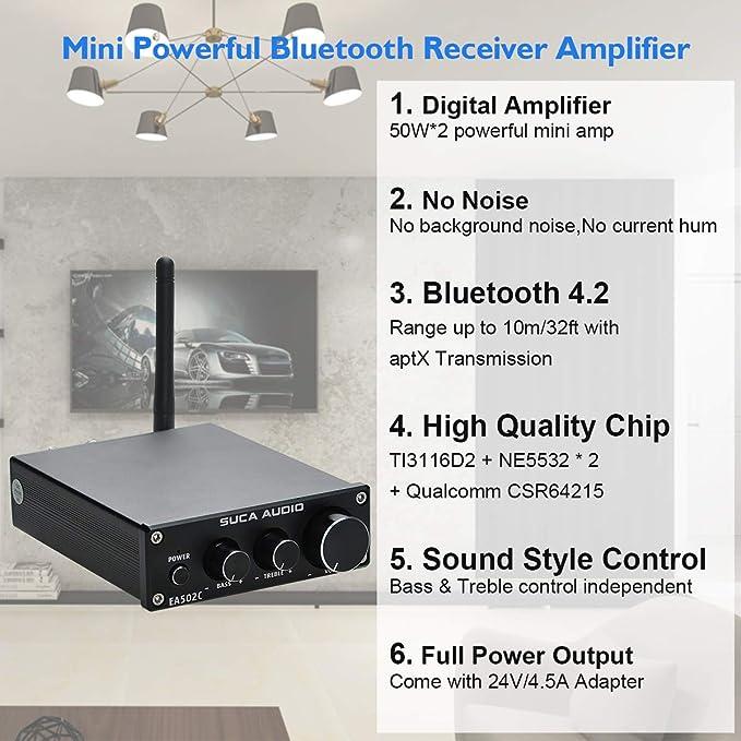 Amazon.com: SUCA-AUDIO Bluetooth 4.2 APTX Stereo Audio ...