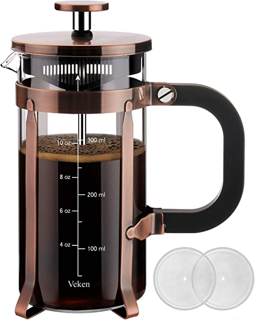 Veken French Press Coffee (12 oz) 304 Grade Stainless Steel Tea Maker with 4 Filter Screens Durable Easy Clean Heat Resistant Borosilicate Glass-100% ...