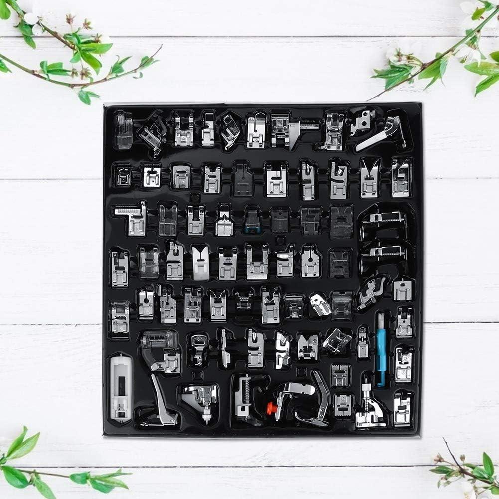 Juego de pies de prensatelas para máquina de coser, 72 piezas Kit de pie para prensa de máquina de coser doméstica Accesorios de costura multifuncional Kit de costura