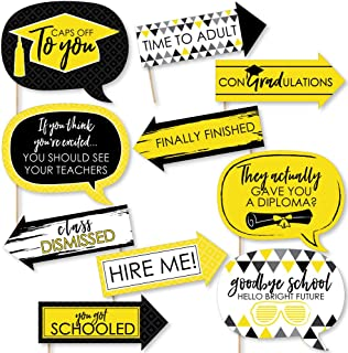 product image for Big Dot of Happiness Funny Yellow Grad - Best is Yet to Come - Yellow Graduation Party Photo Booth Props Kit - 10 Piece