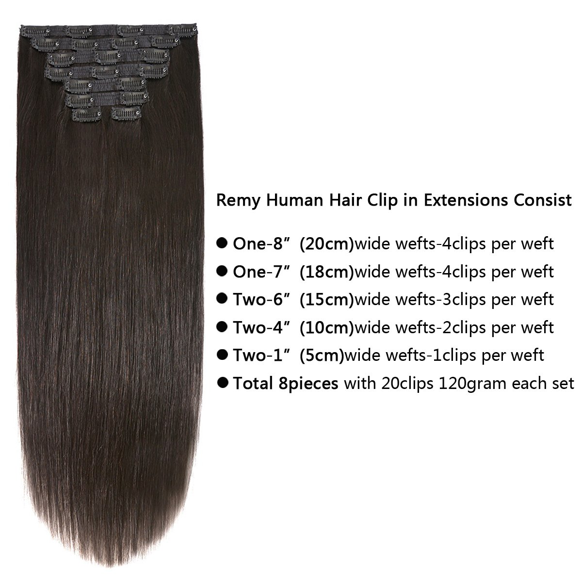 Amazon 20 Clip On Extensions Human Hair Clip Ins Real Hair