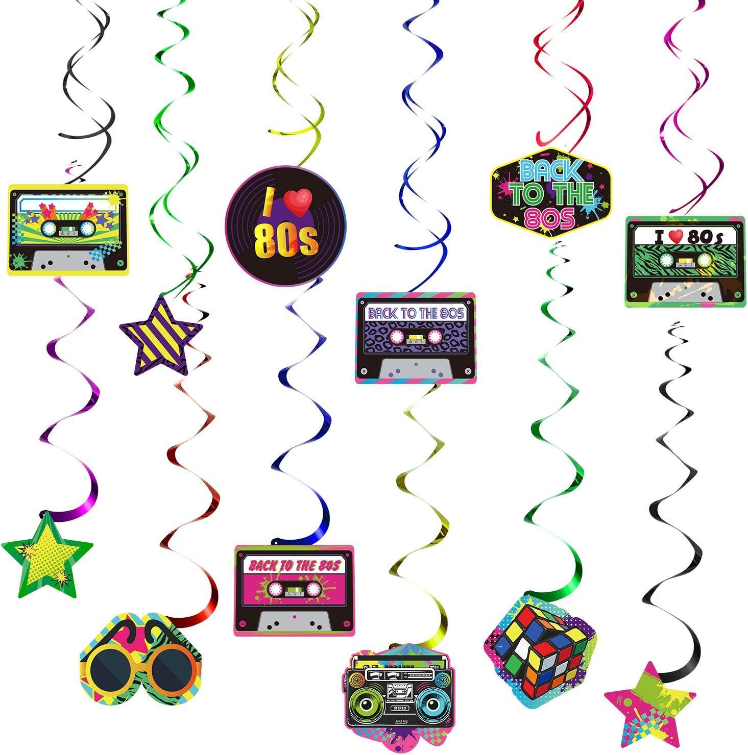 80er Jahre Retro 1980er Jahre Party H/ängende Strudel Decke Dekorationen Folie Doppel Spirale 80er Jahre Hip Hop Zeichen H/ängende Strudel Dekorationen Blulu 80er Jahre Party Dekorationen Kit