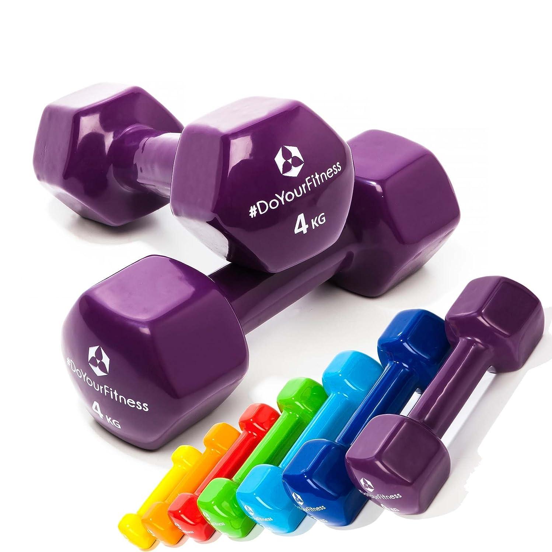 #DoYourFitness Haltères en vinyle »Hexagon«/idéals pour l'entraînement de Musculation et de fitness/Haltères muni de protection néoprène/disponible en différents poids & couleurs de 0,5kg à 4kg 75kg 1kg 2kg 3kg & 4kg